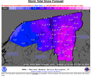 National Weather Service storm total predictions for Vermont.